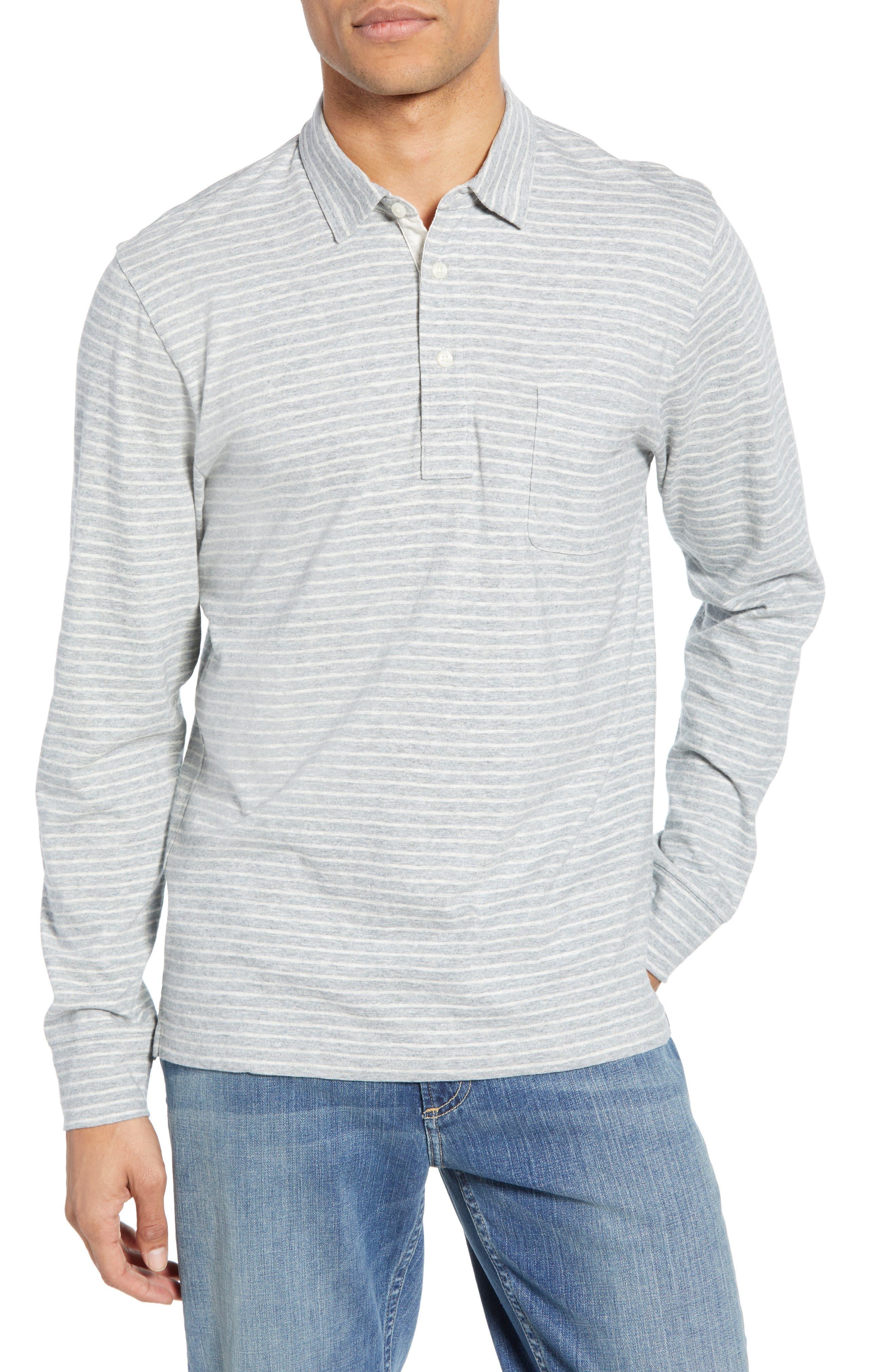 Faherty Bleecker Stripe Long Sleeve Pocket Polo, Grey