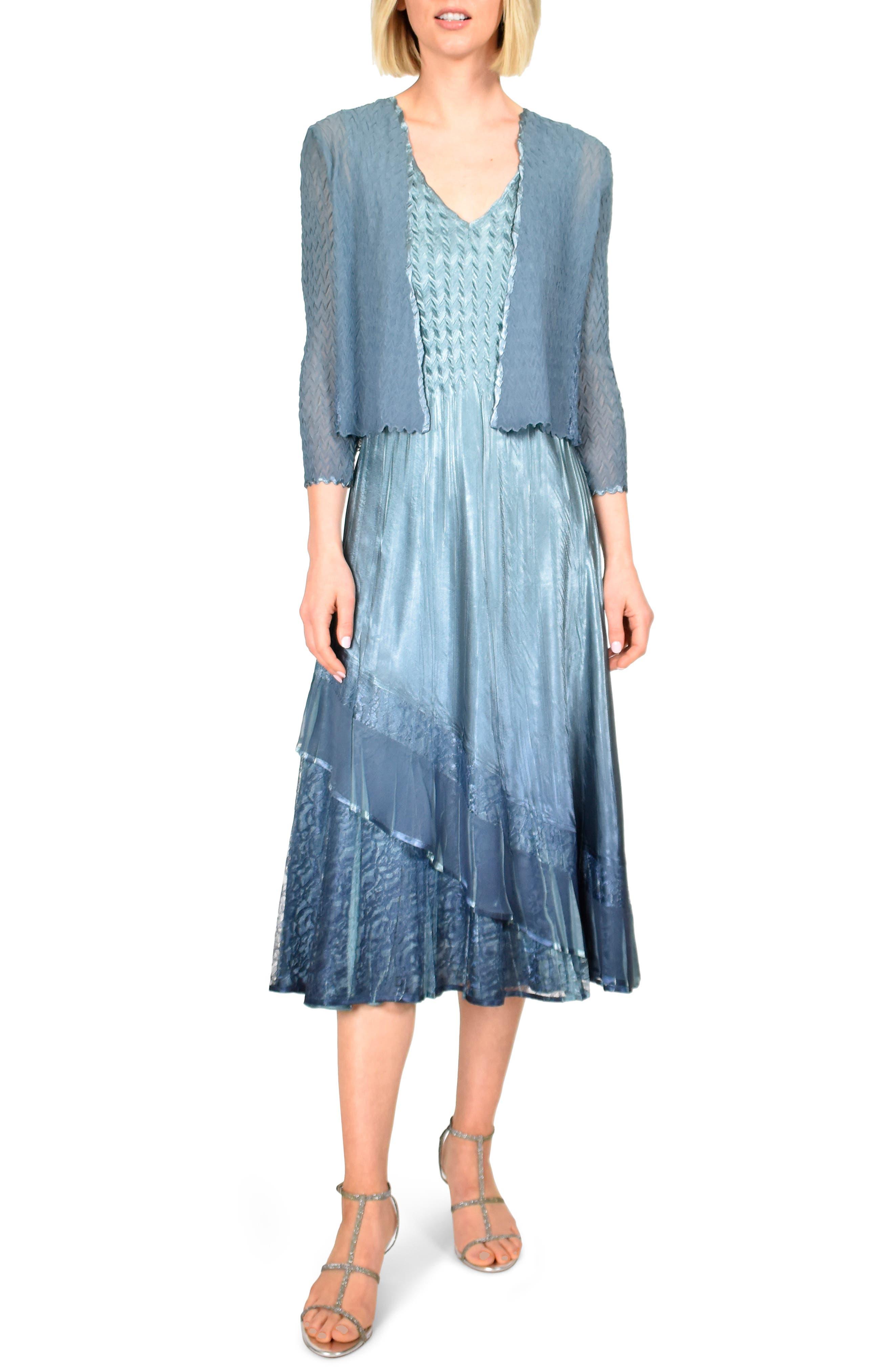 Komarov Tiered Ruffle Midi Dress With Jacket, Blue