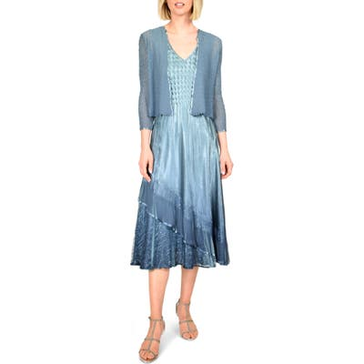 Komarov Tiered Ruffle Midi Dress With Jacket, Blue