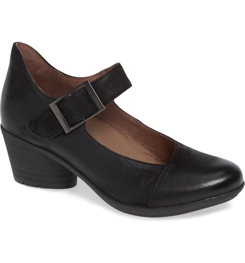 DANSKO Roxanne Pump, Main, color, BLACK BURNISHED NUBUCK LEATHER