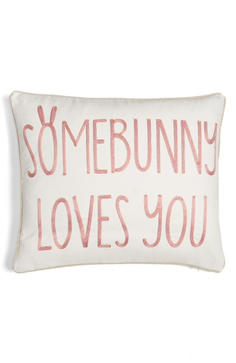 LEVTEX Somebunny Loves You Accent Pillow, Main, color, 100