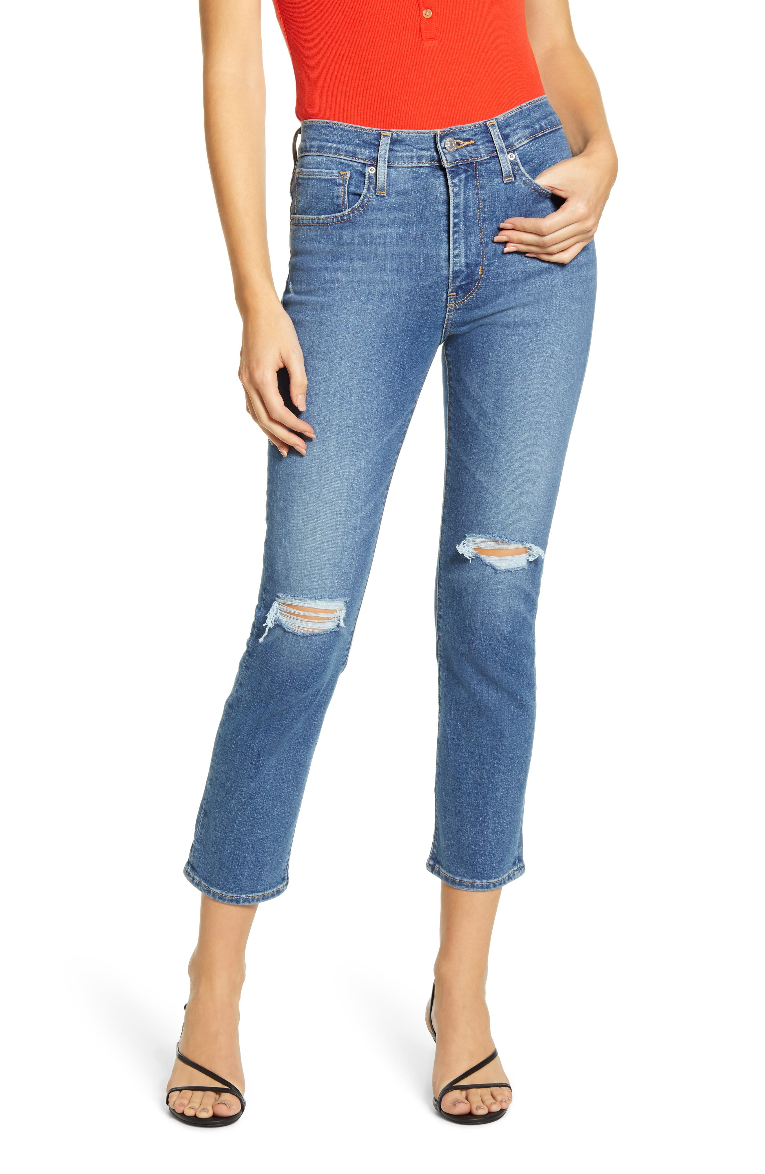 Levi's® 724™ Ripped High Waist Crop Straight Leg Jeans (New York Brawl)