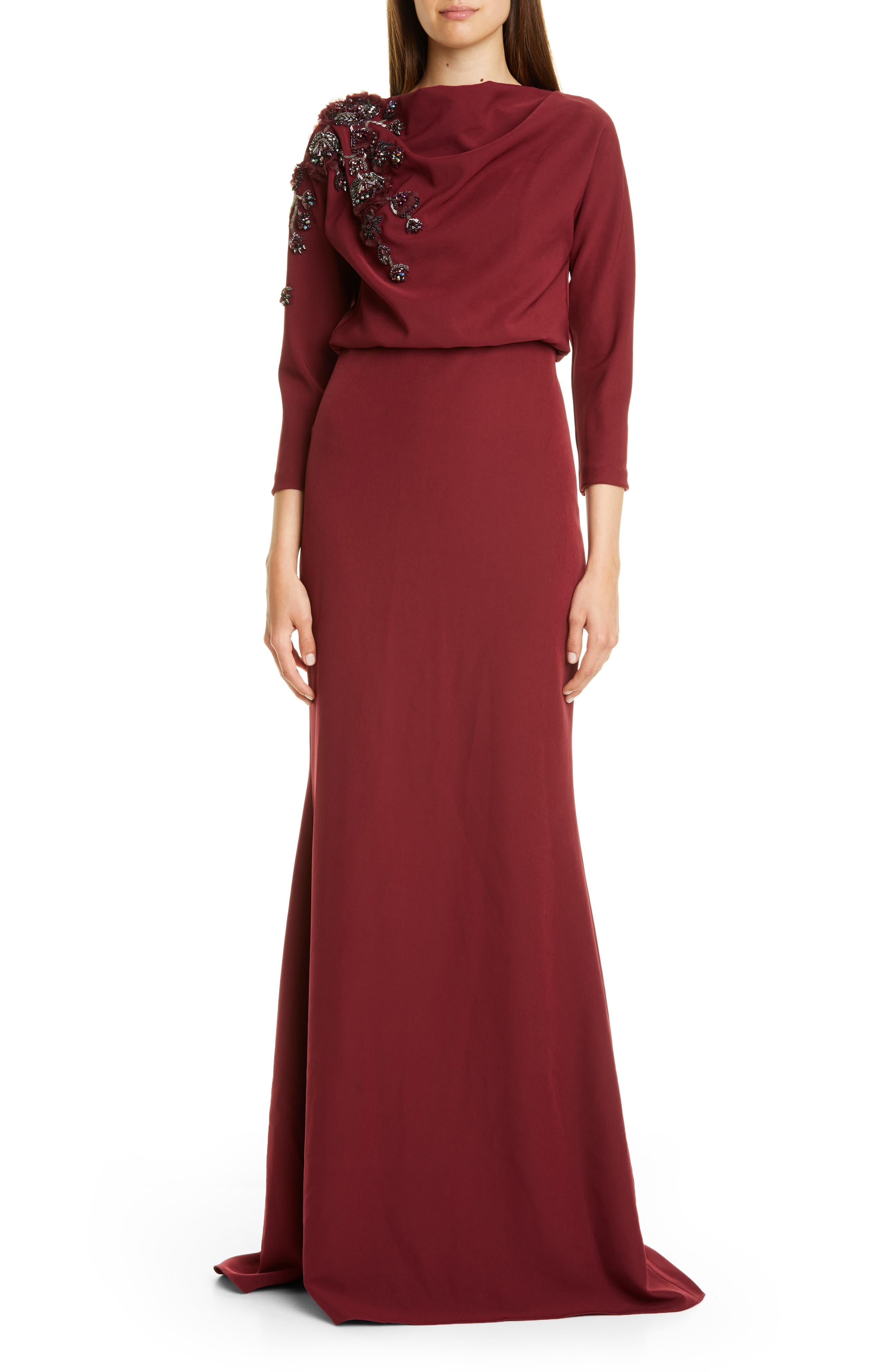 Badgley Mischka Couture Embellished Drape Bodice Gown, Burgundy