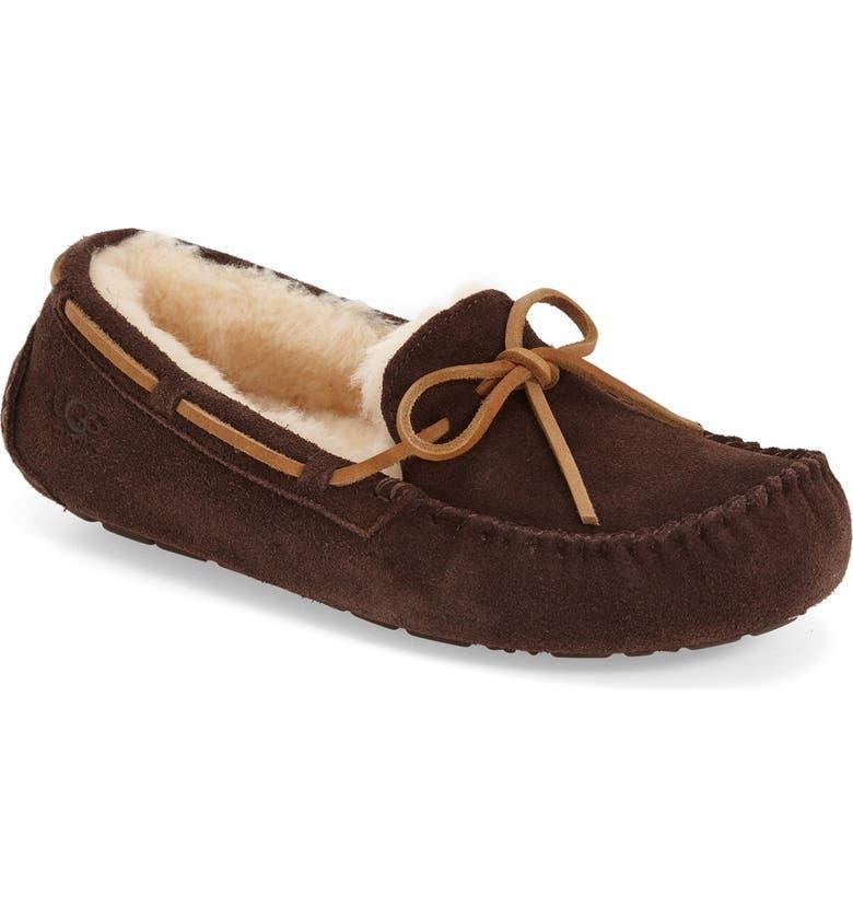 UGG<SUP>®</SUP> 'Olsen' Moccasin Slipper, Main, color, ESPRESSO