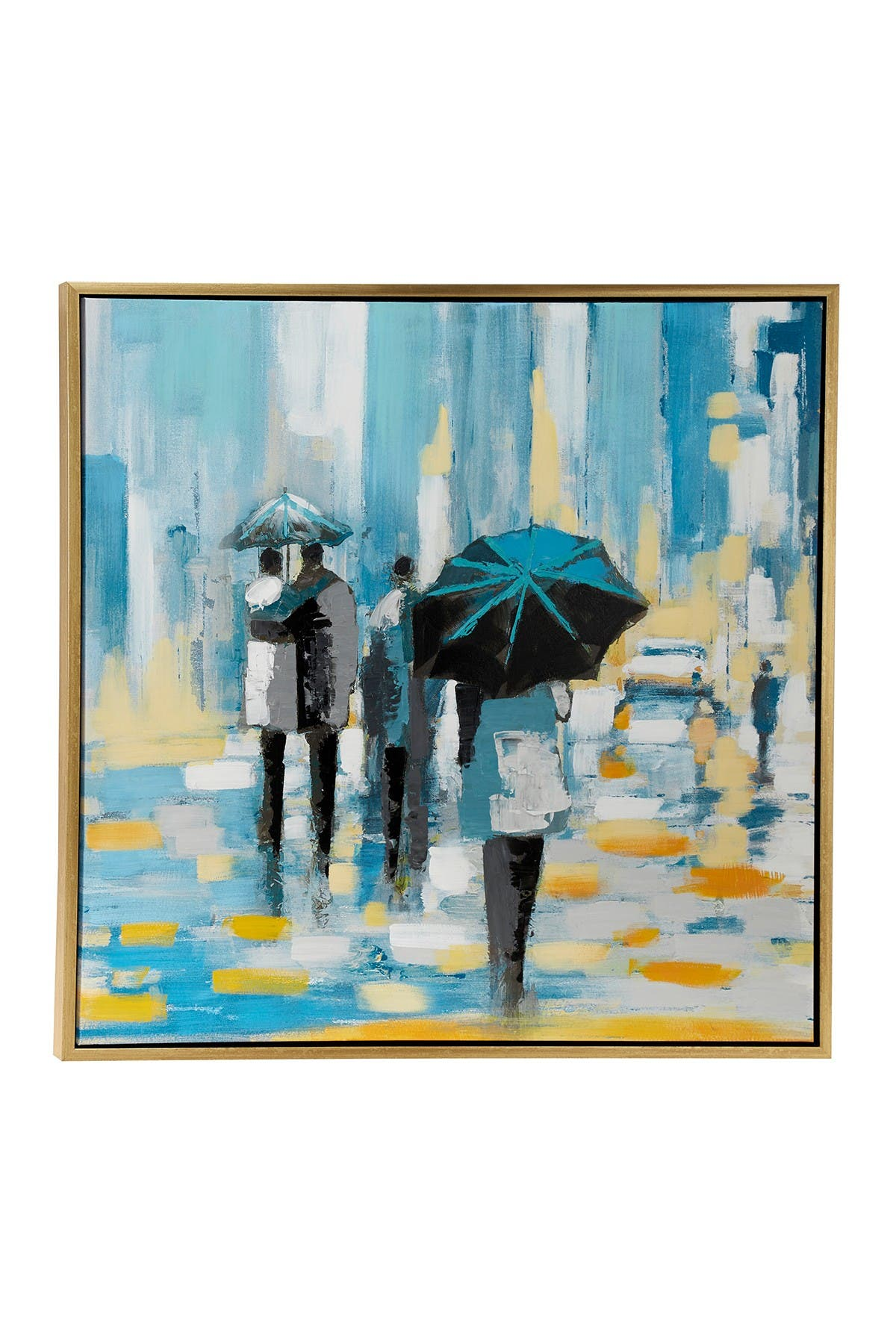 Willow Row Large Square Contemporary Acrylic Painting Of People Walking In Rain - 39.5\\\