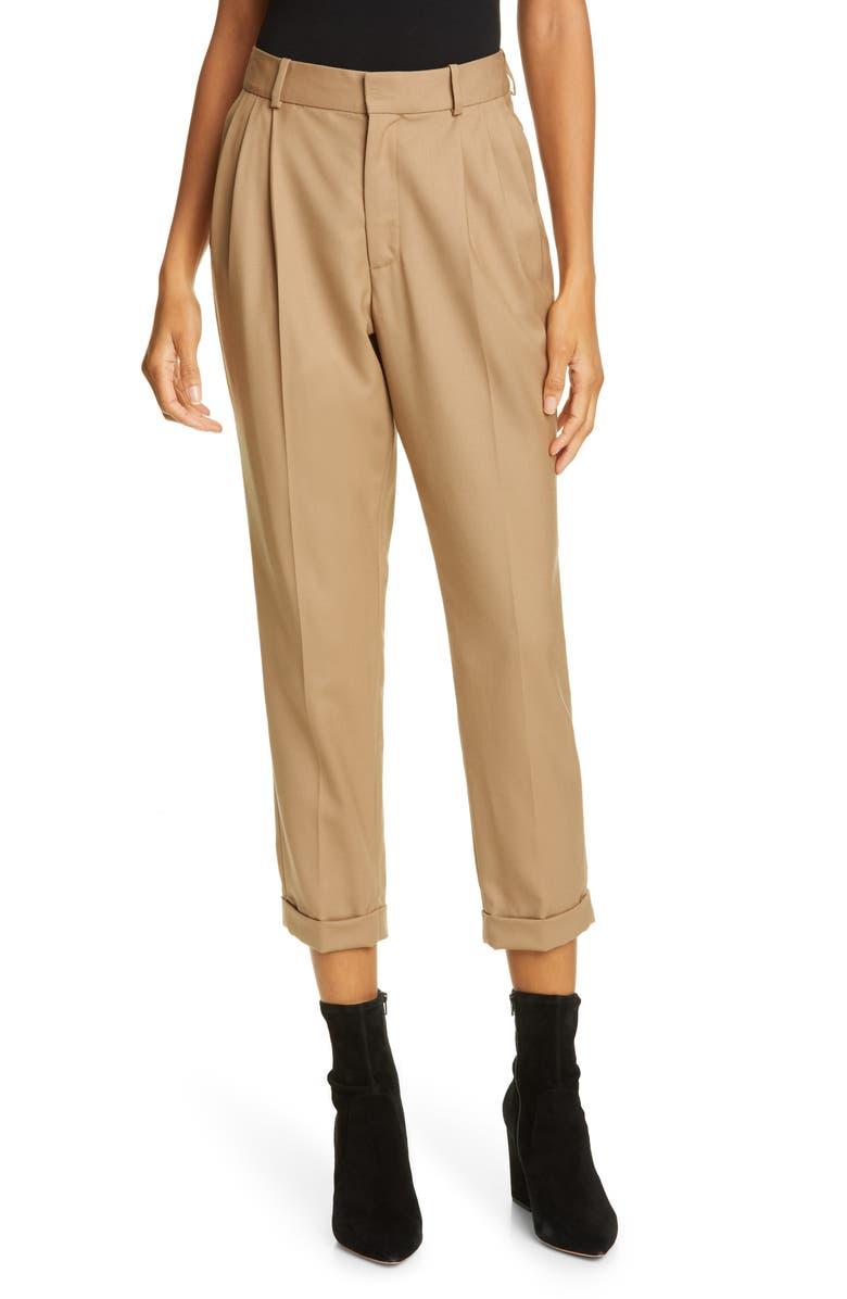 NILI LOTAN Montana Stretch Wool Crop Pants, Main, color, CAMEL