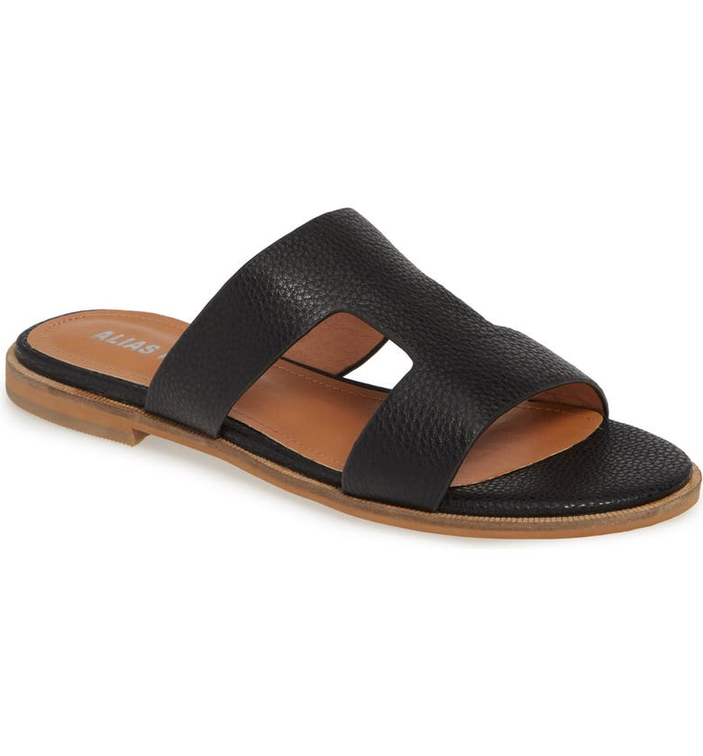 ALIAS MAE Thaia Cutout Slide Sandal, Main, color, BLACK LEATHER
