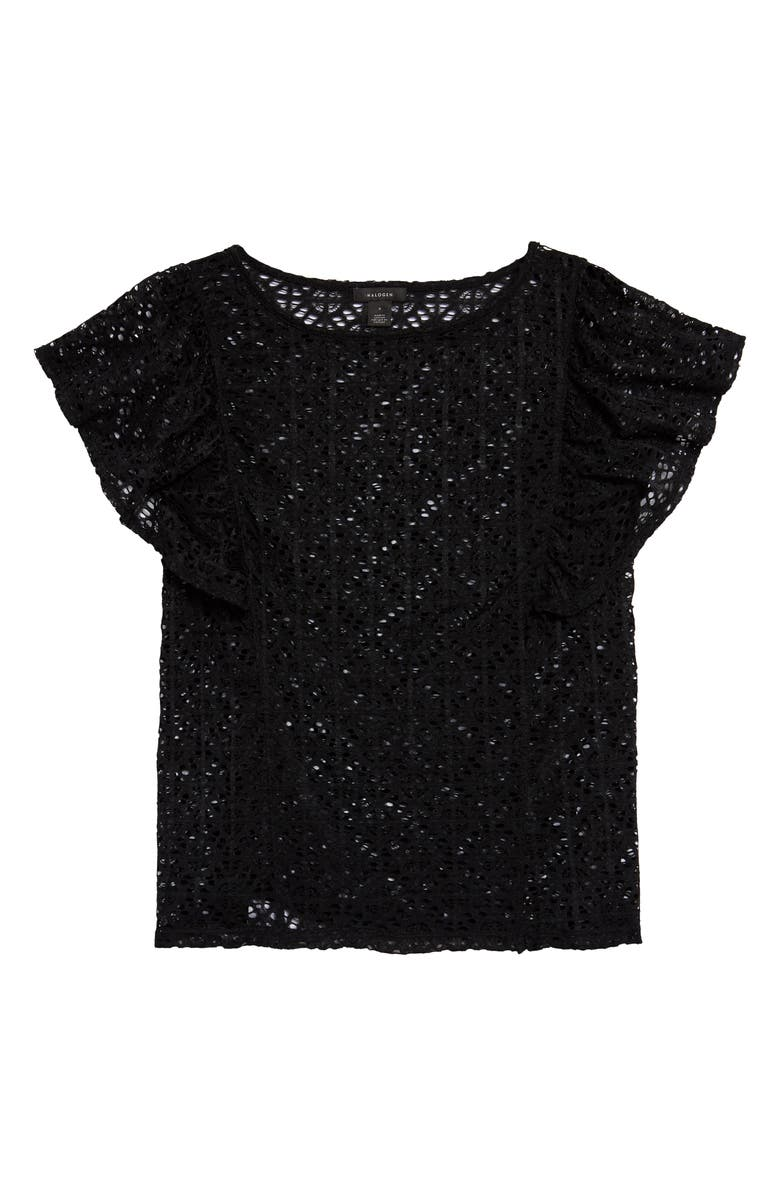 HALOGEN<SUP>®</SUP> Flutter Sleeve Stretch Lace Top, Main, color, 001
