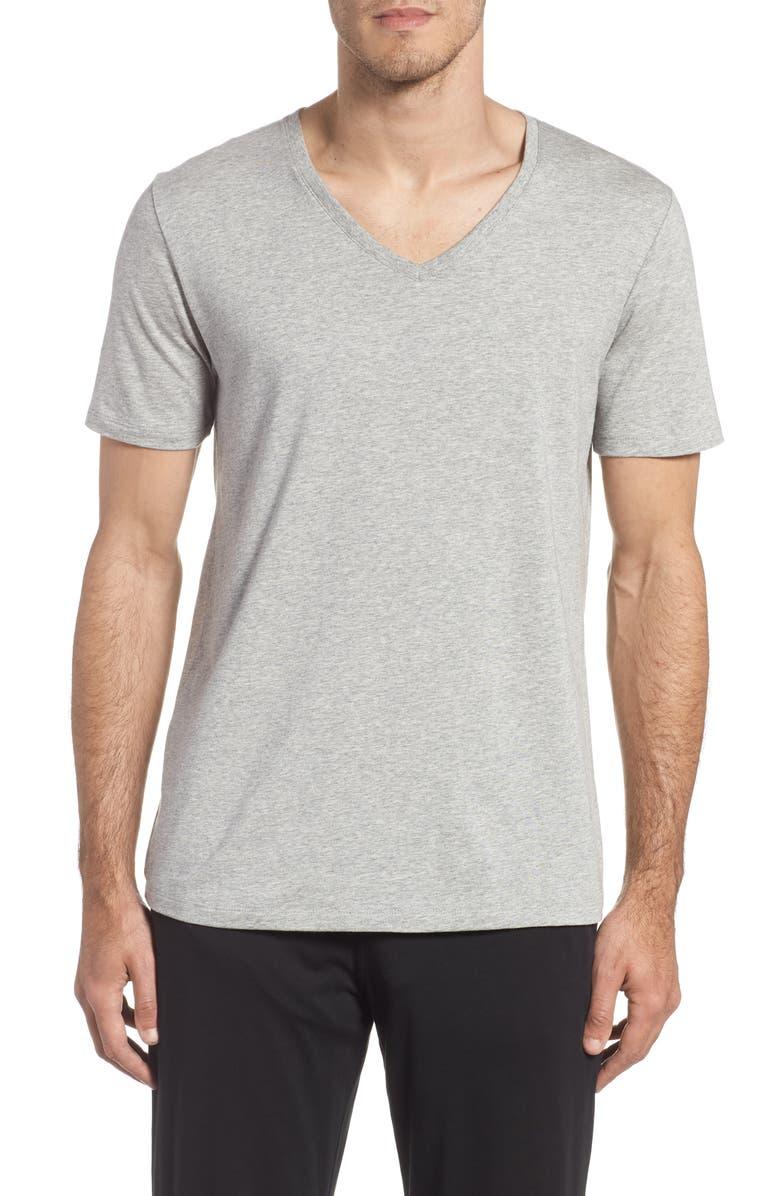 TOMMY JOHN Second Skin V-Neck T-Shirt, Main, color, HEATHER GREY