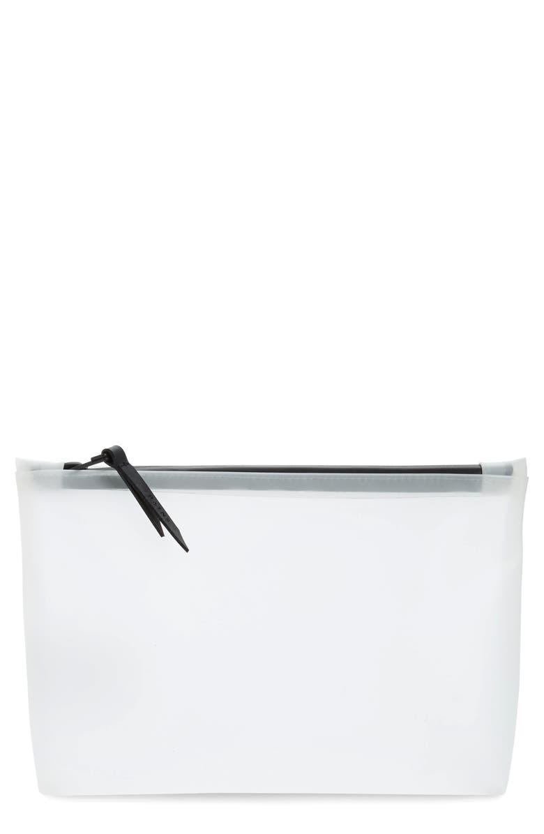 RAINS Waterproof Cosmetics Bag, Main, color, FOGGY WHITE