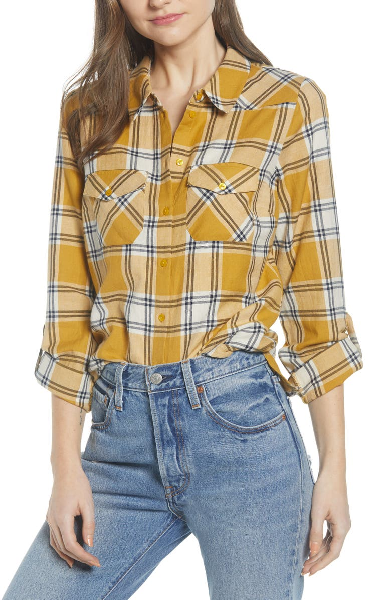 NOISY MAY Eric Plaid Shirt, Main, color, WHITE/ YELLOW PLAID