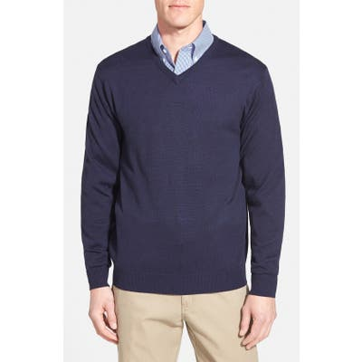 Cutter & Buck Douglas Merino Wool Blend V-Neck Sweater, Blue