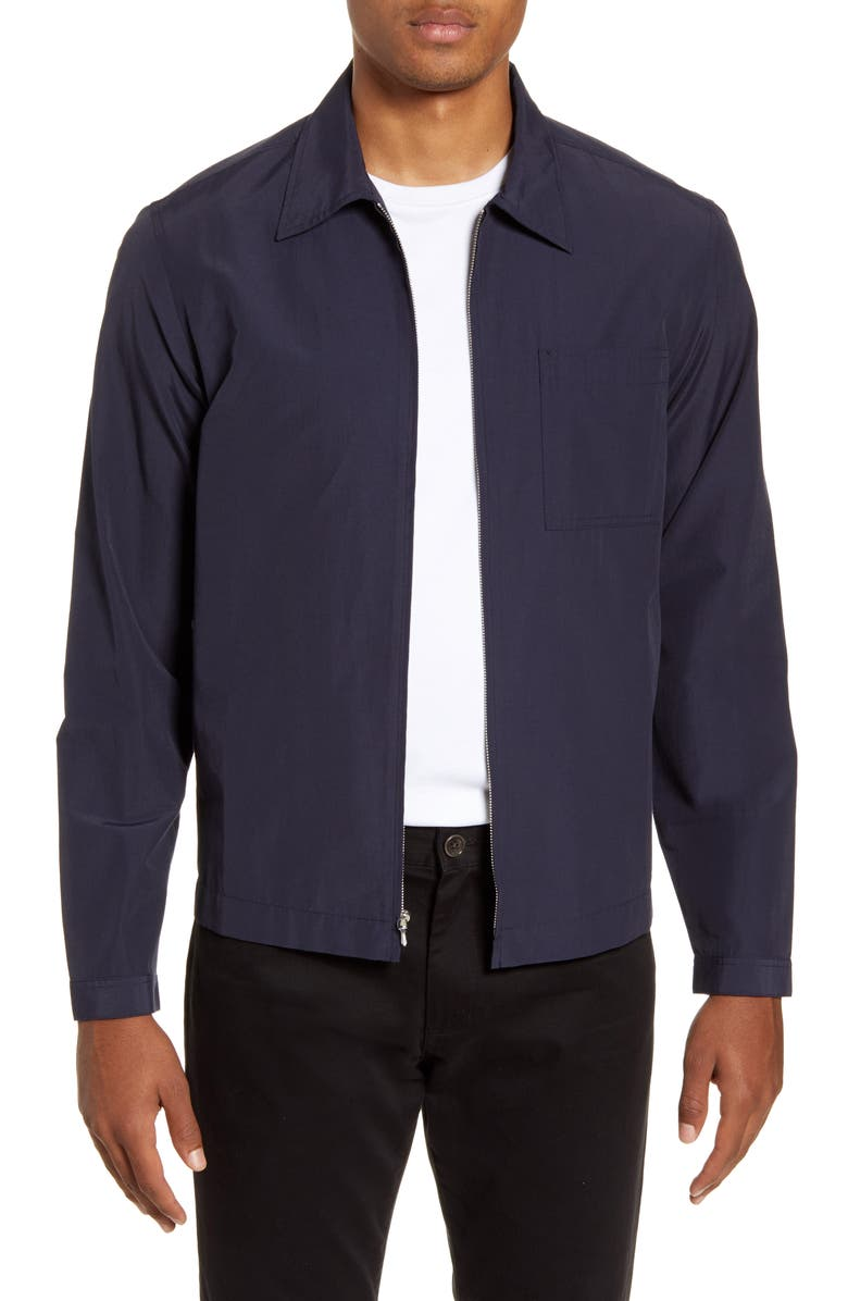 ALEX MILL Water Repellent Zip Jacket, Main, color, NAVY