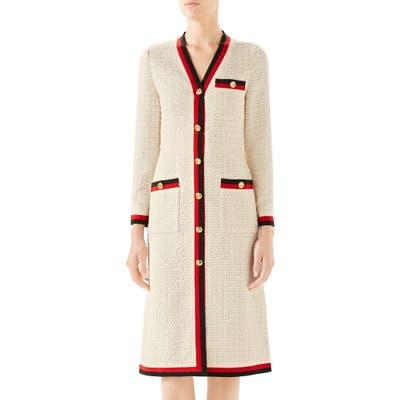 Gucci Ribbon Trim Tweed Dress, 50 IT - Ivory