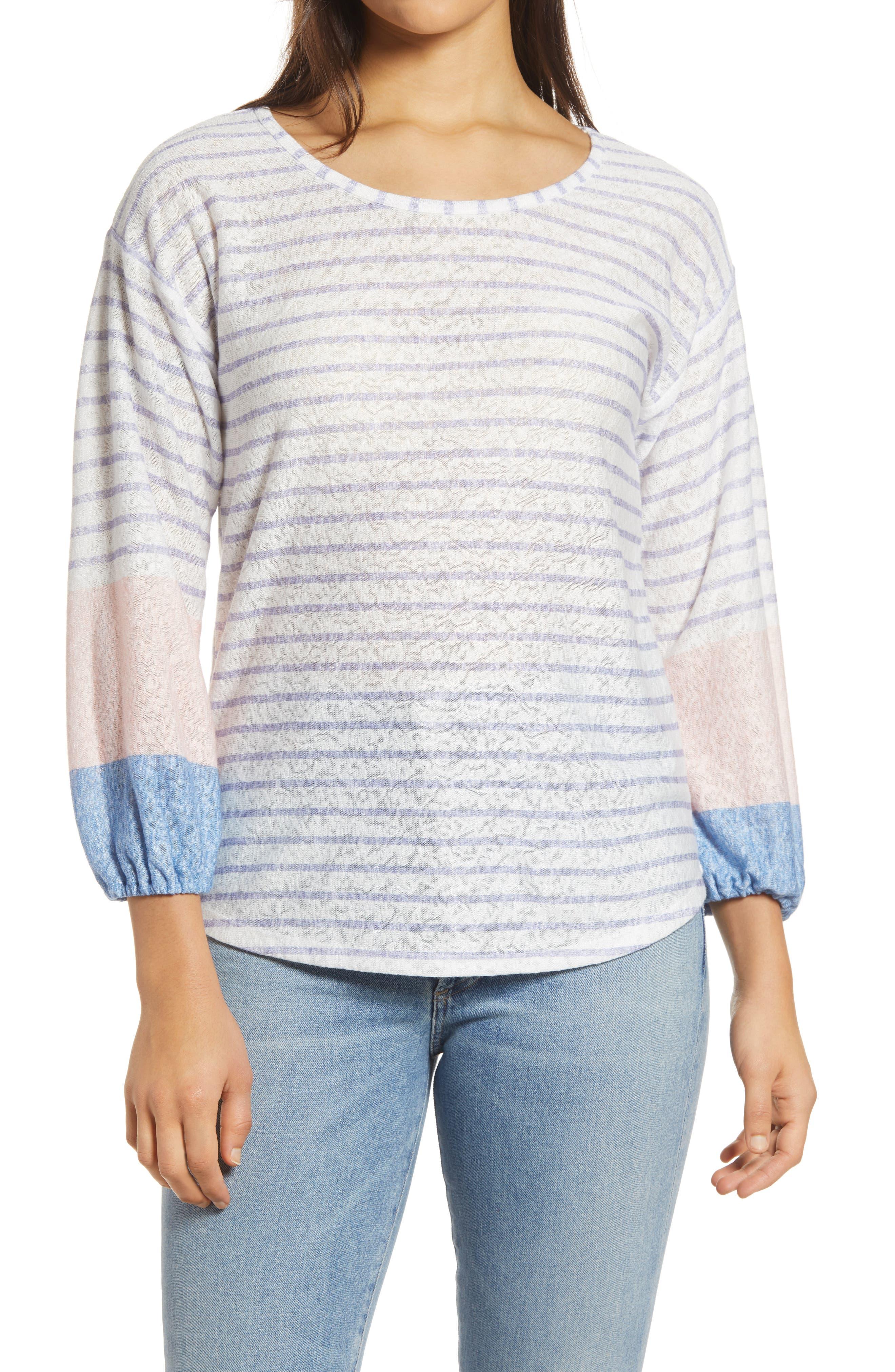 Stripe Puff Sleeve Pullover