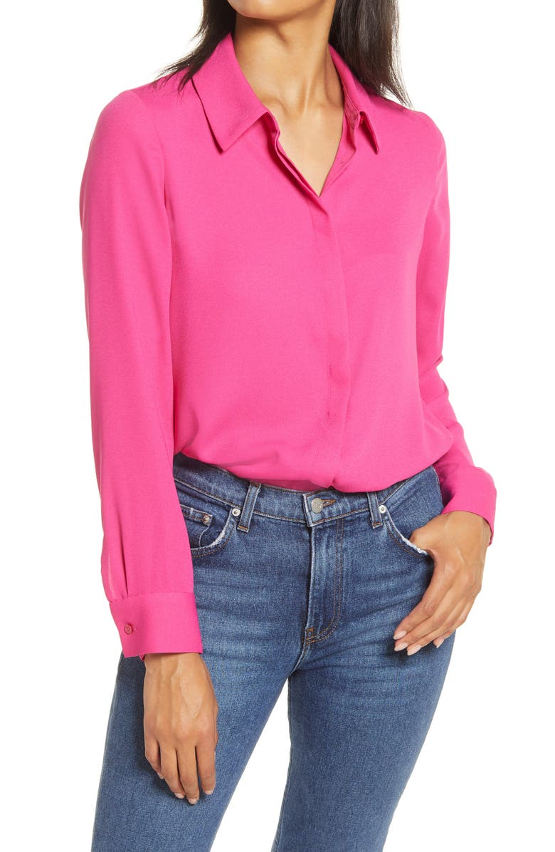 HALOGEN<SUP>®</SUP> Hidden Button Long Sleeve Blouse, Main, color, PINK BERRY