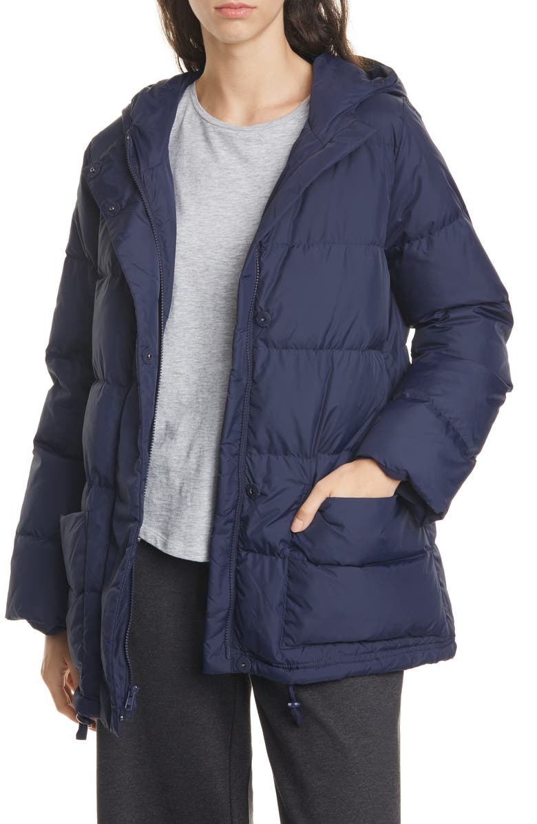 EILEEN FISHER Recycled Nylon Hooded Down Coat, Main, color, MIDNIGHT