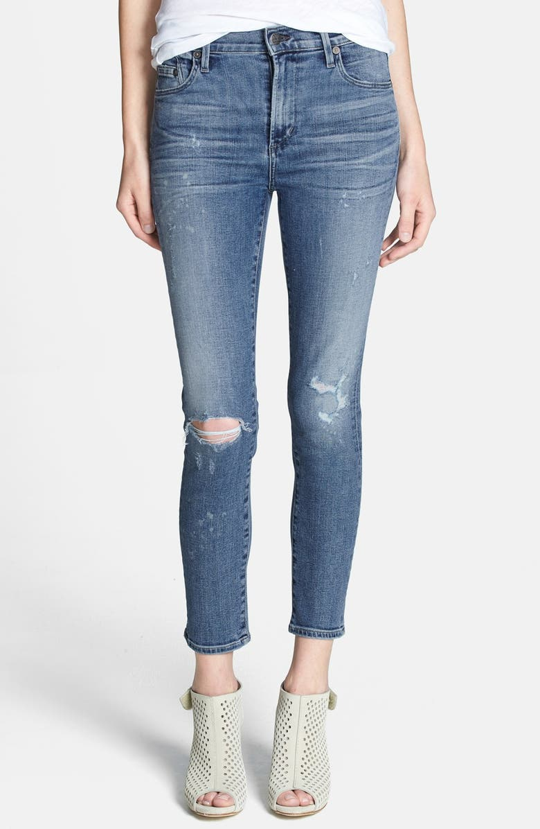 CITIZENS OF HUMANITY 'Rocket' Destroyed Crop Skinny Jeans, Main, color, 450