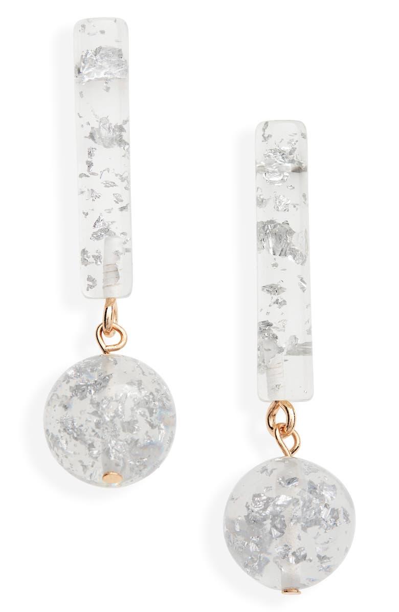 BRACHA Retro Babe Drop Earrings, Main, color, METALLIC SILVER