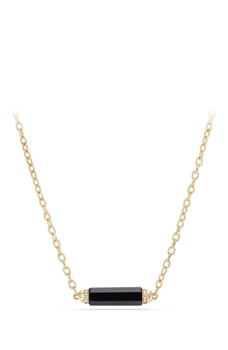 DAVID YURMAN Barrels Single Station Necklace with Diamonds in 18K Gold, Main, color, BLACK ONYX