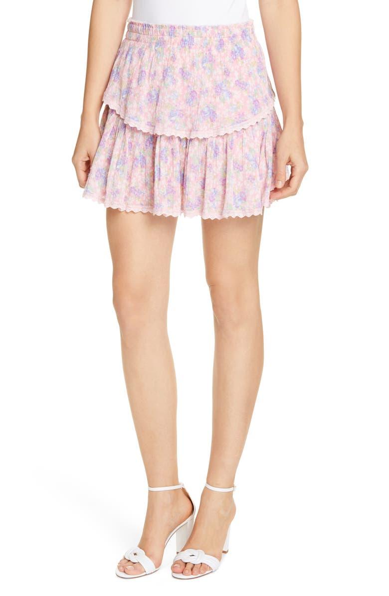 LOVESHACKFANCY Floral Ruffle Miniskirt, Main, color, 673