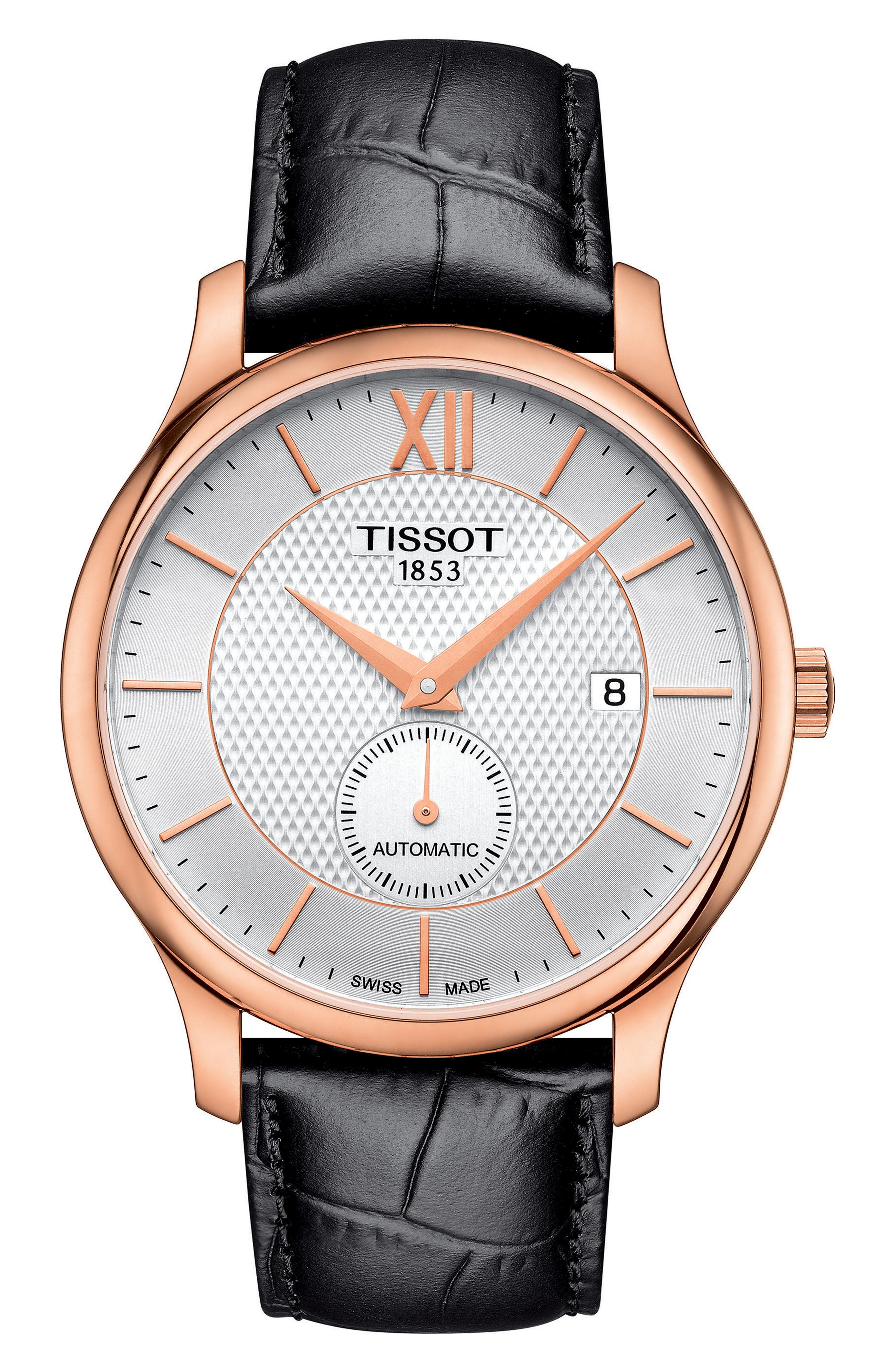 Image of Tissot Men's Tradition Automatic Small Second Croc Embossed Leather Strap Watch, 40mm