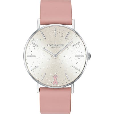 Coach Perry Pink Ribbon Leather Strap Watch,