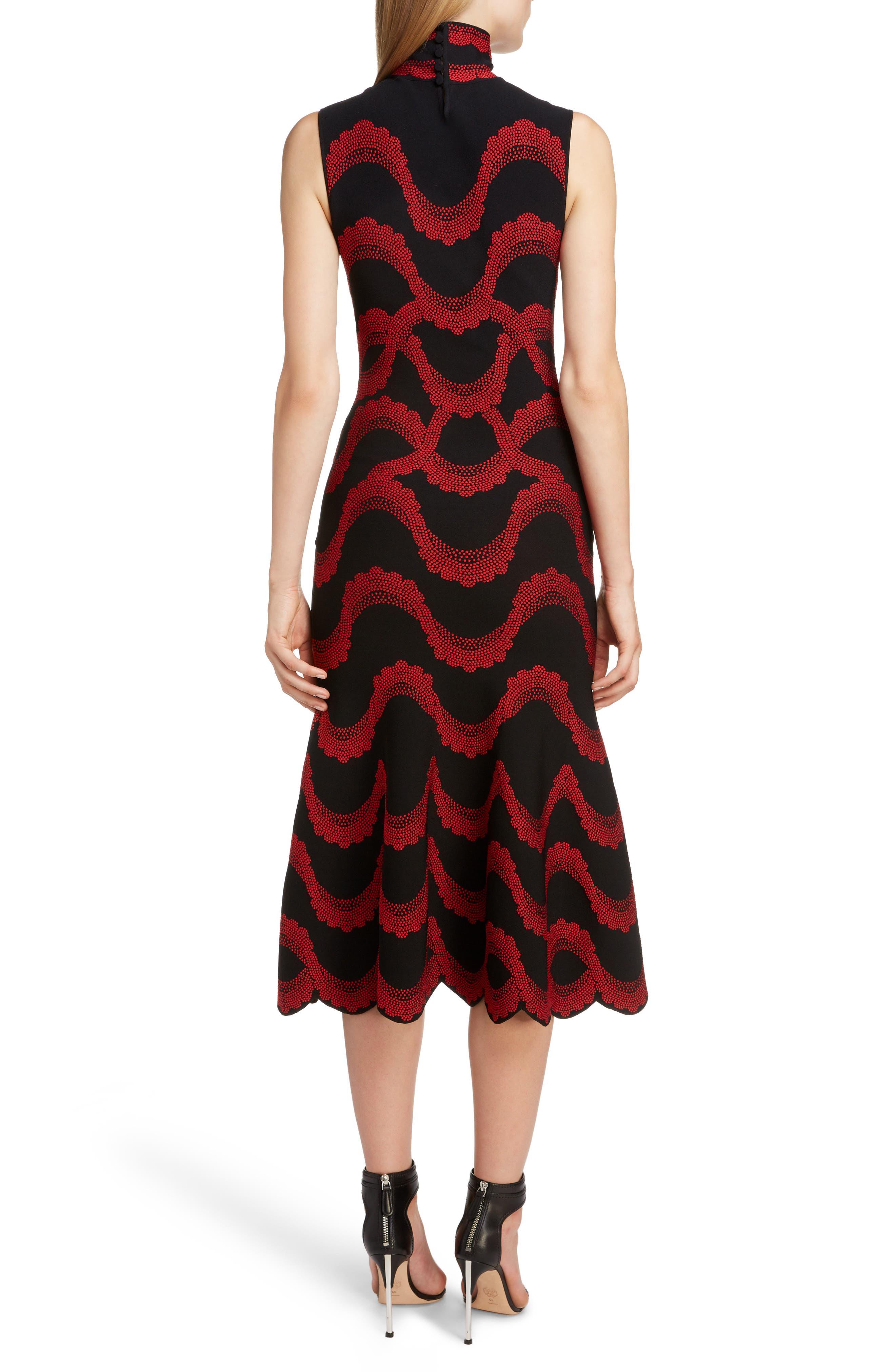 ,                             Wave Jacquard Midi Dress,                             Alternate thumbnail 2, color,                             BLACK/ RED