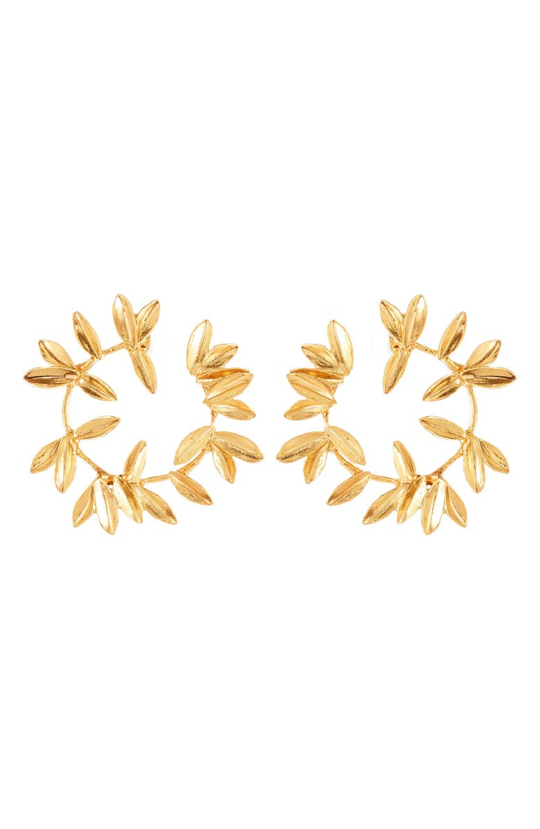 OSCAR DE LA RENTA Leaf Hoop Earrings, Main, color, GOLD