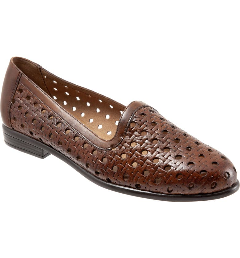 TROTTERS Liz Woven Loafer Flat, Main, color, BROWN LEATHER