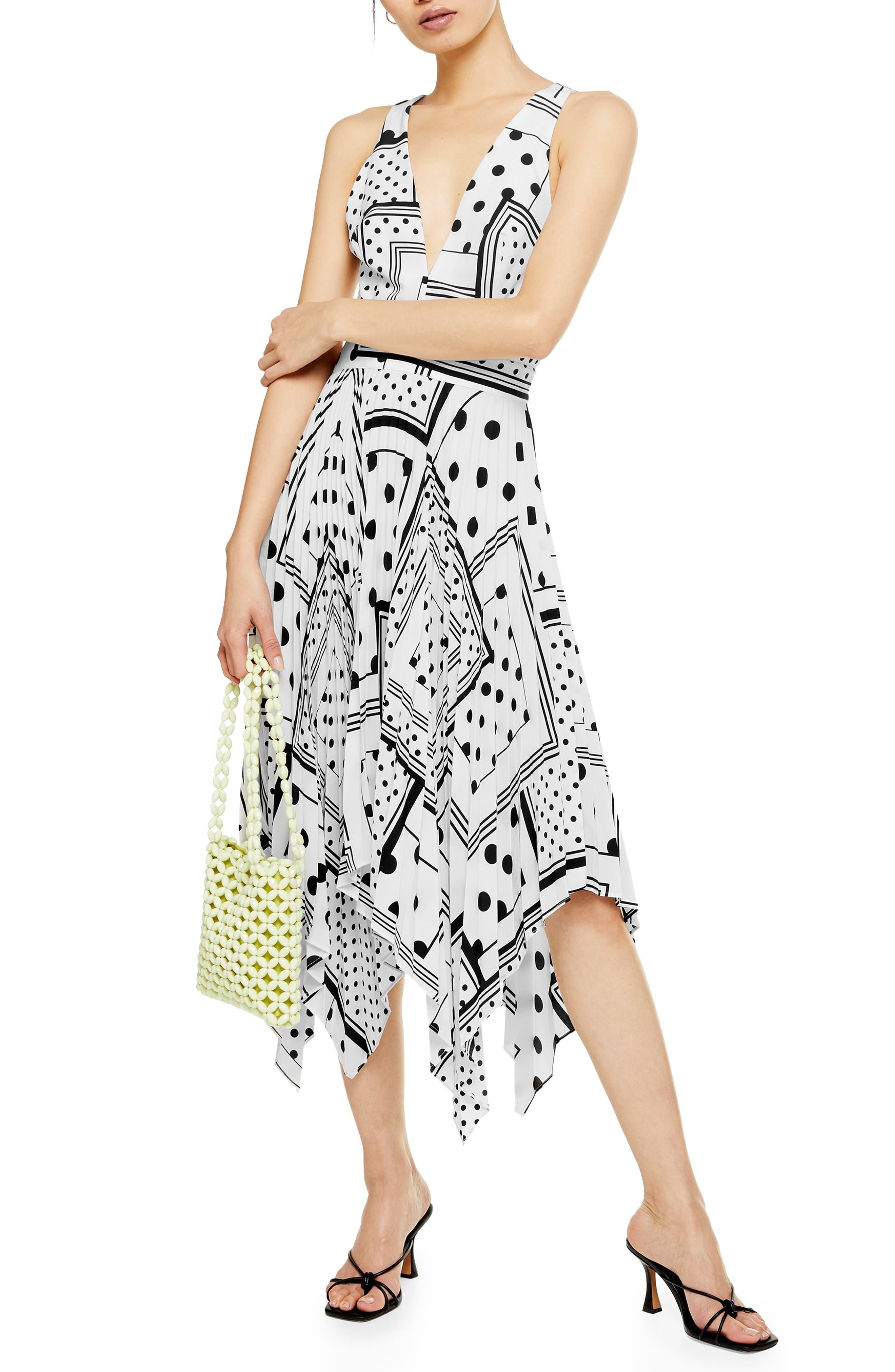 Topshop Spot Print Pleated Pinafore Dress, US (fits like 10-12) - White