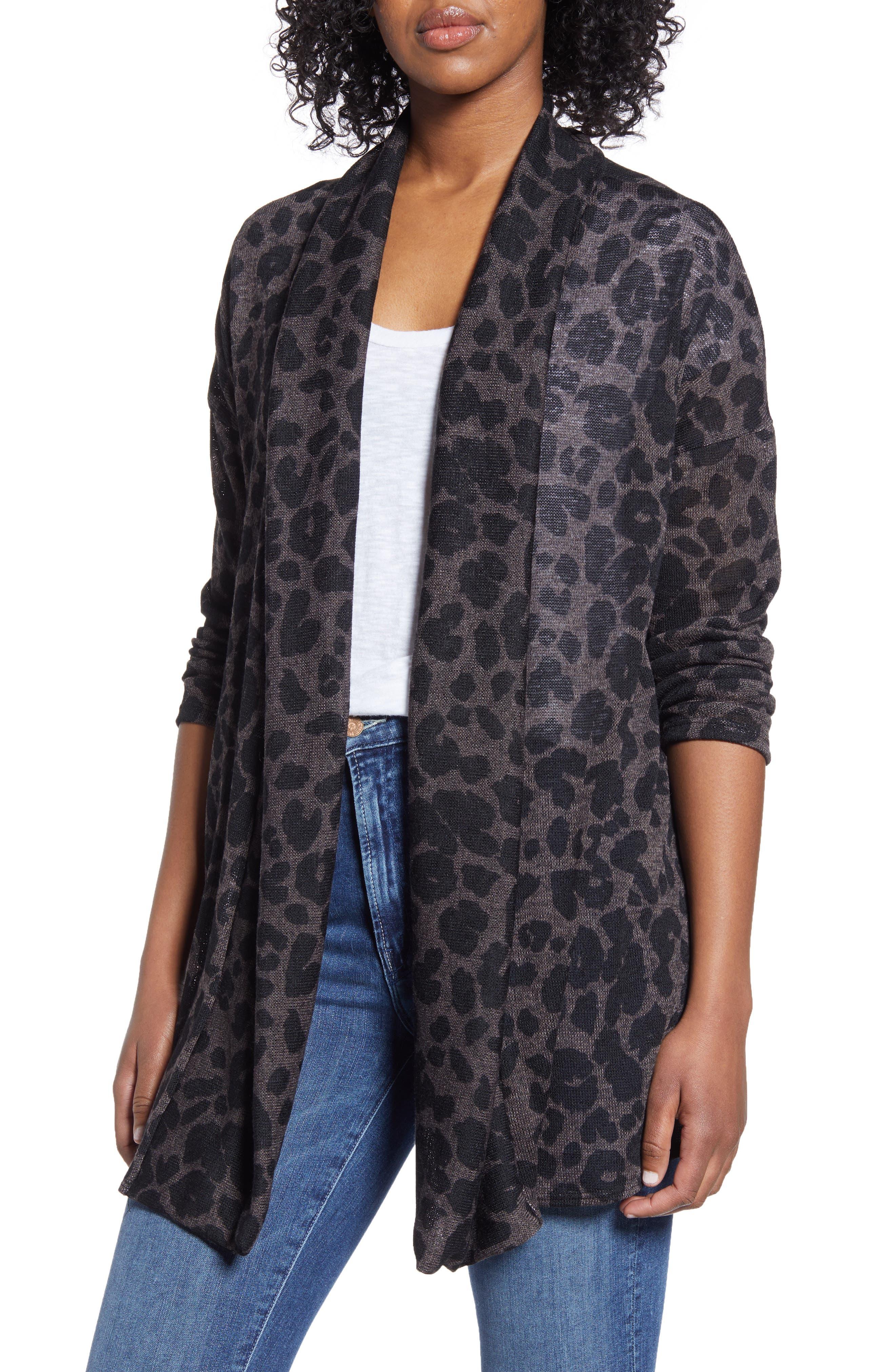 Leopard Open Front Cardigan by Caslon®