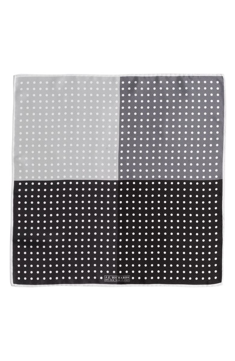 J.Z. RICHARDS Polka Dot Pocket Square, Main, color, 001