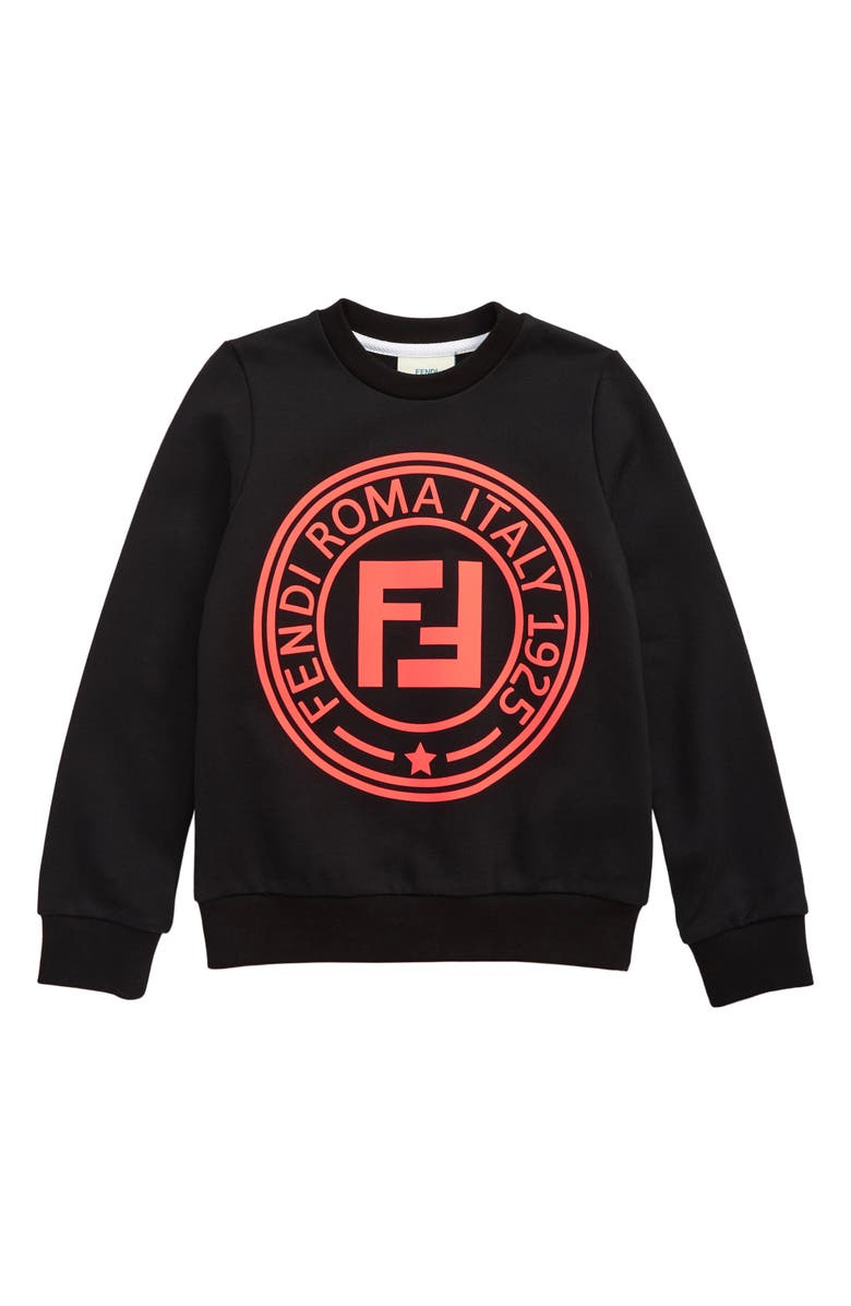 FENDI Logo Sweatshirt, Main, color, BLACK