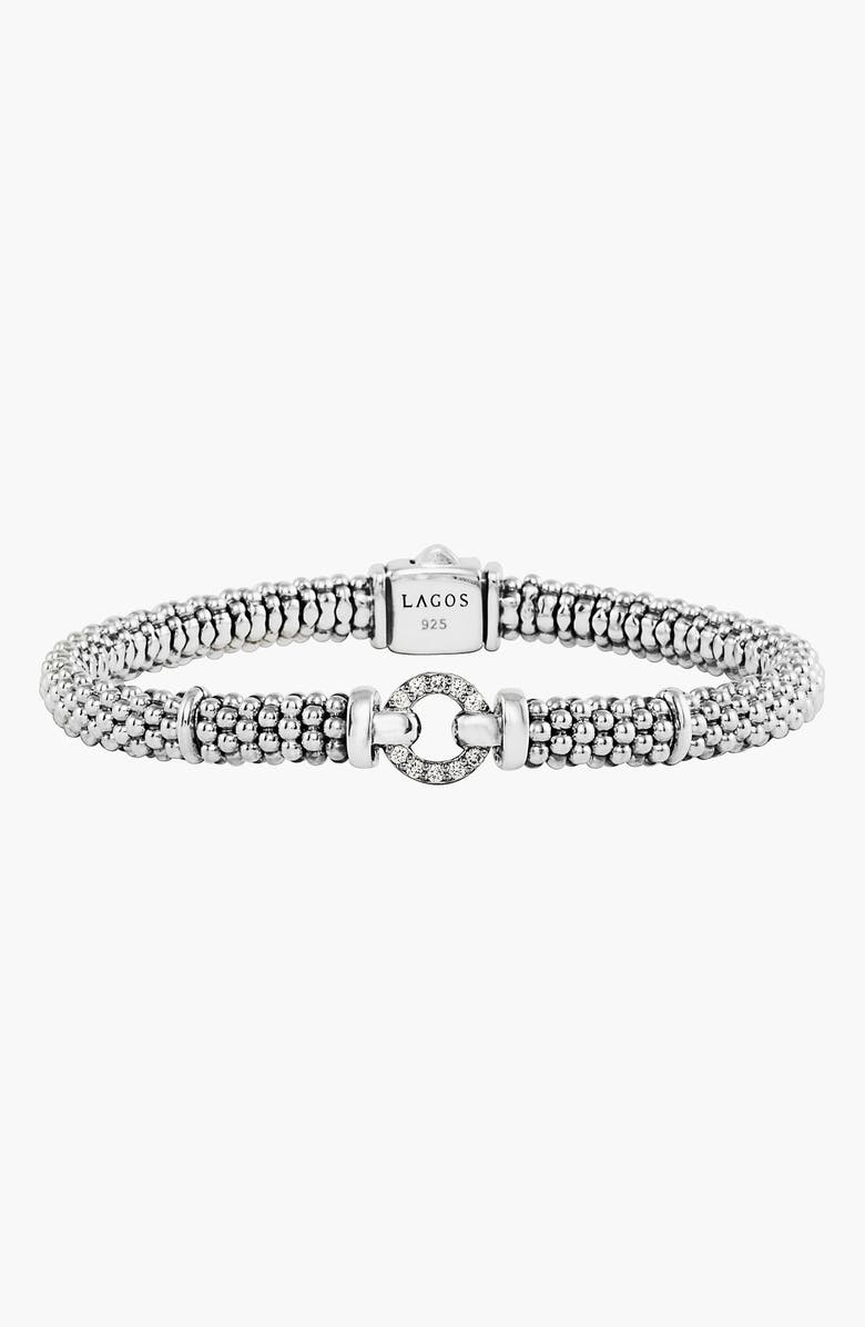 LAGOS Enso Diamond Bracelet, Main, color, SILVER