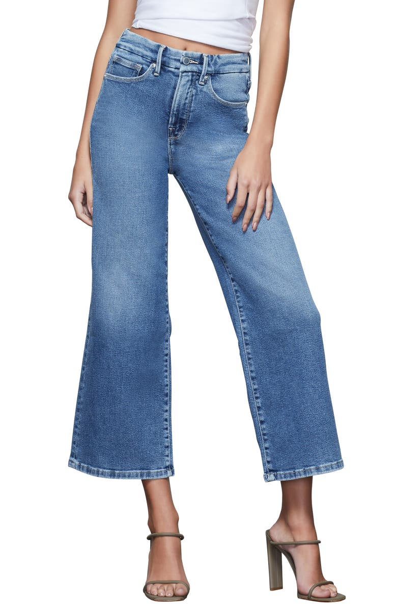 GOOD AMERICAN Palazzo Crop Jeans, Main, color, BLUE