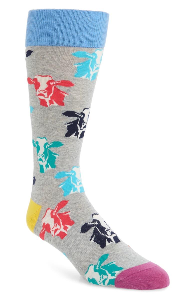 FUN SOCKS Cow Socks, Main, color, 095