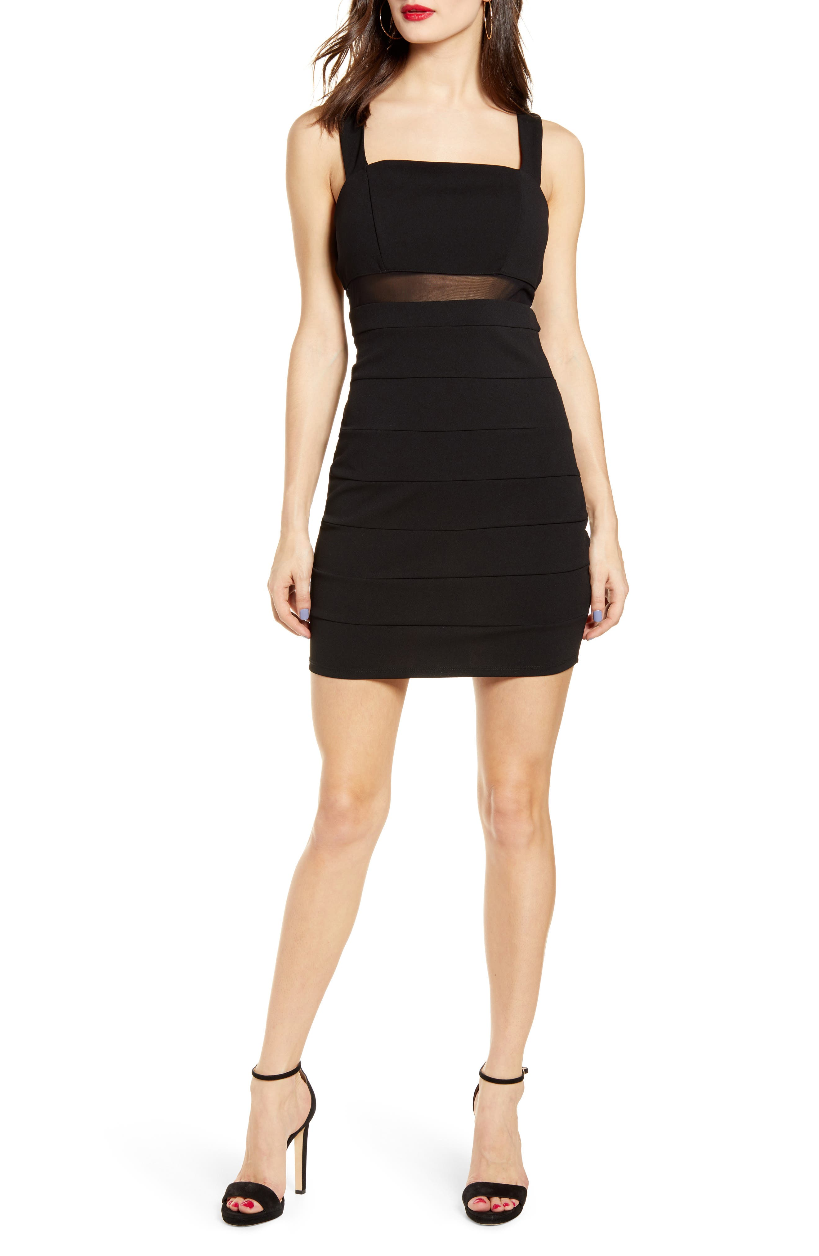 Love, Nickie Lew Illusion Panel Body-Con Dress, Black