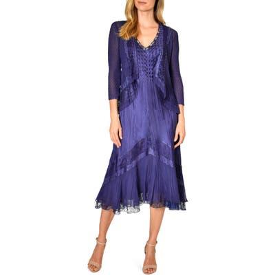 Petite Komarov Lace Inset Midi Dress With Jacket, Purple