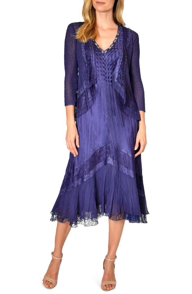 KOMAROV Lace Inset Midi Dress with Jacket, Main, color, MIGHT SHADE