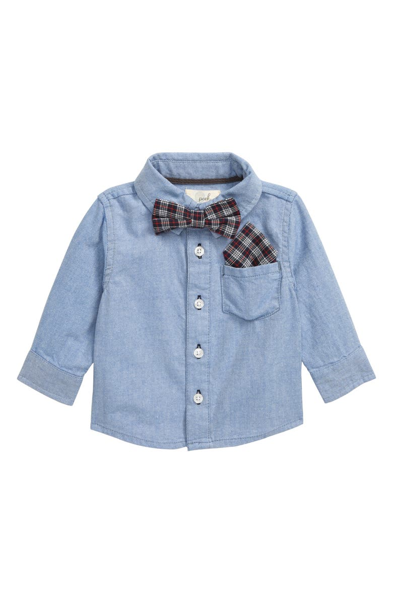 PEEK ESSENTIALS Bow Tie Button-Up Shirt, Main, color, 408