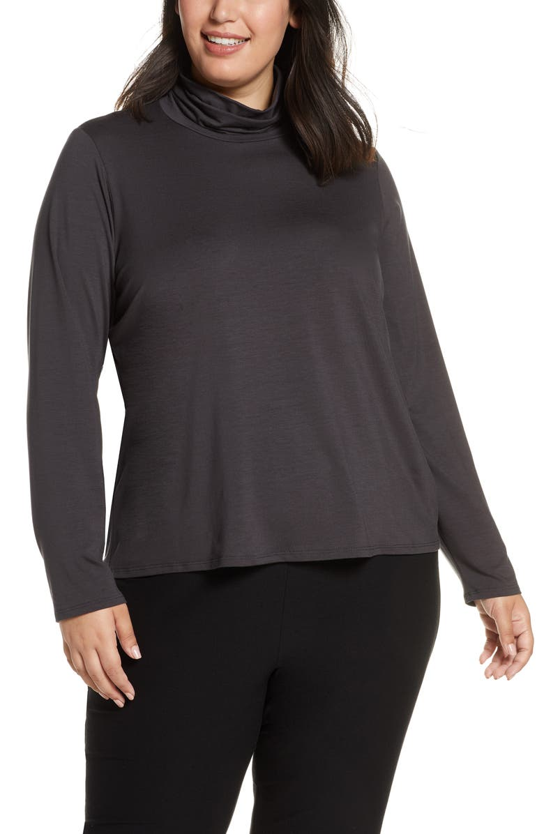 EILEEN FISHER Scrunch Neck Stretch Tencel<sup>®</sup> Lyocell Top, Main, color, CHARCOAL
