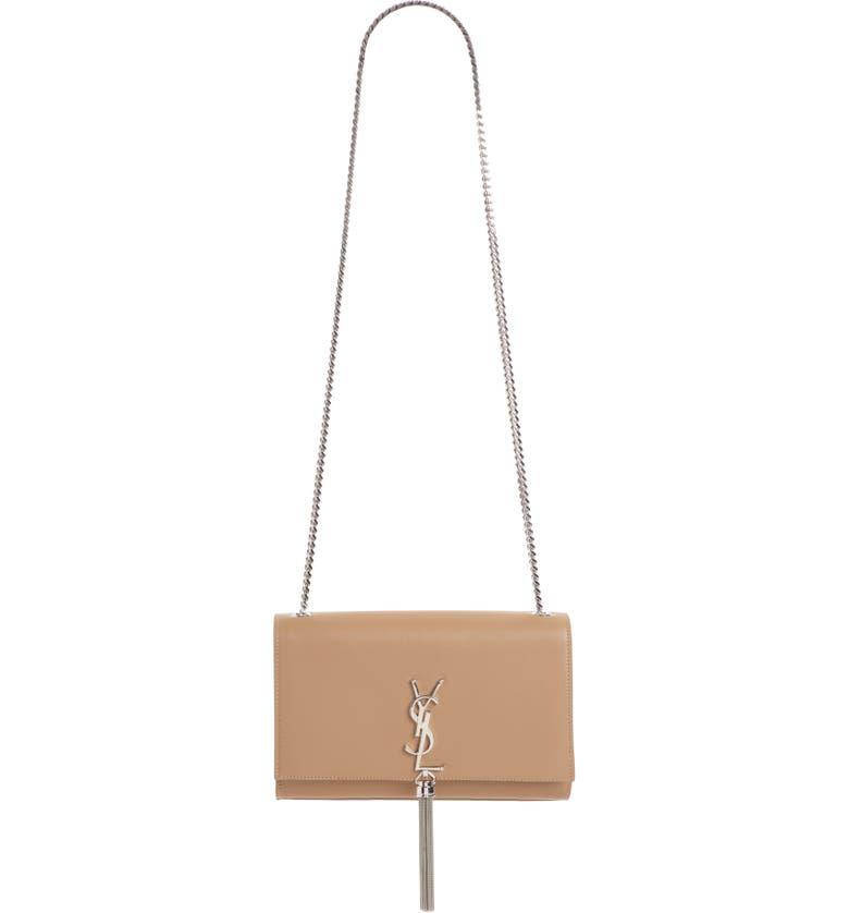 SAINT LAURENT Medium Kate - Tassel Calfskin Leather Shoulder Bag, Main, color, TAUPE FONCE