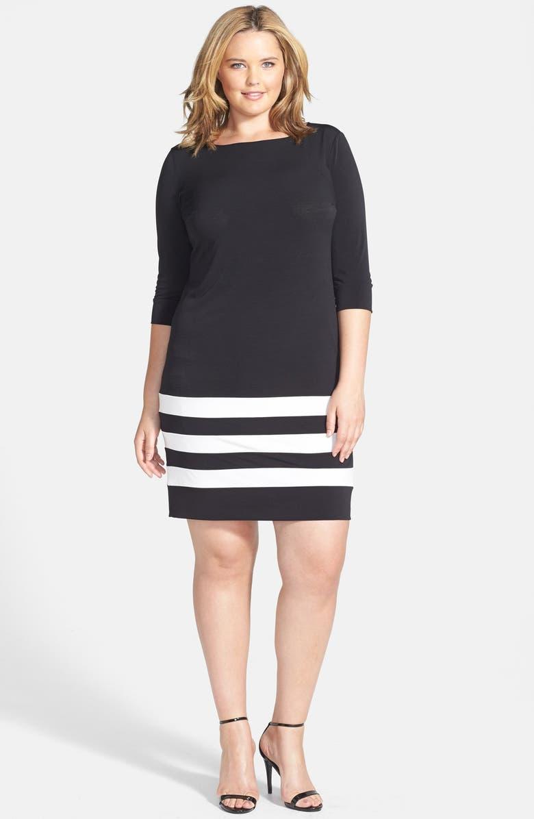 ABS BY ALLEN SCHWARTZ Stripe Hem T-Shirt Dress, Main, color, 001