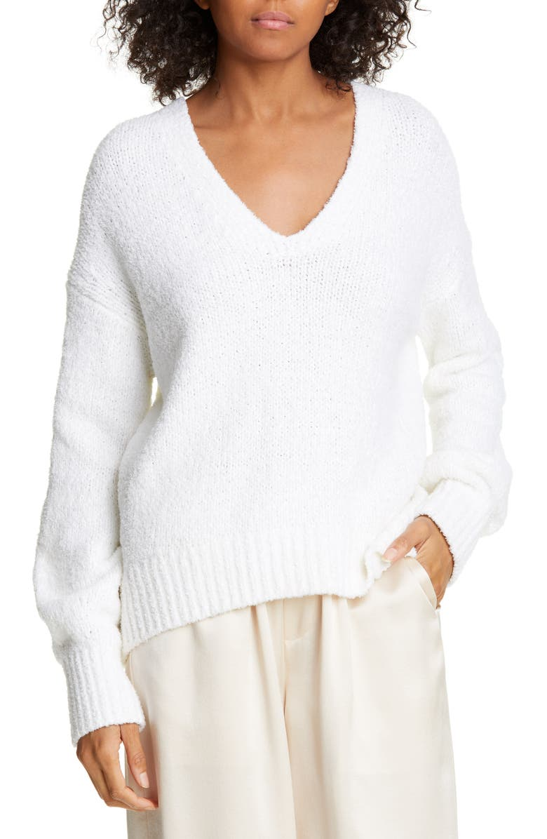 VINCE Textured V-Neck Sweater, Main, color, OPTIC WHITE