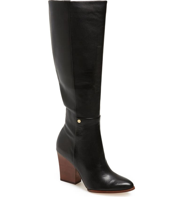 CALVIN KLEIN 'Zurie' Knee High Pointy Toe Boot, Main, color, 001