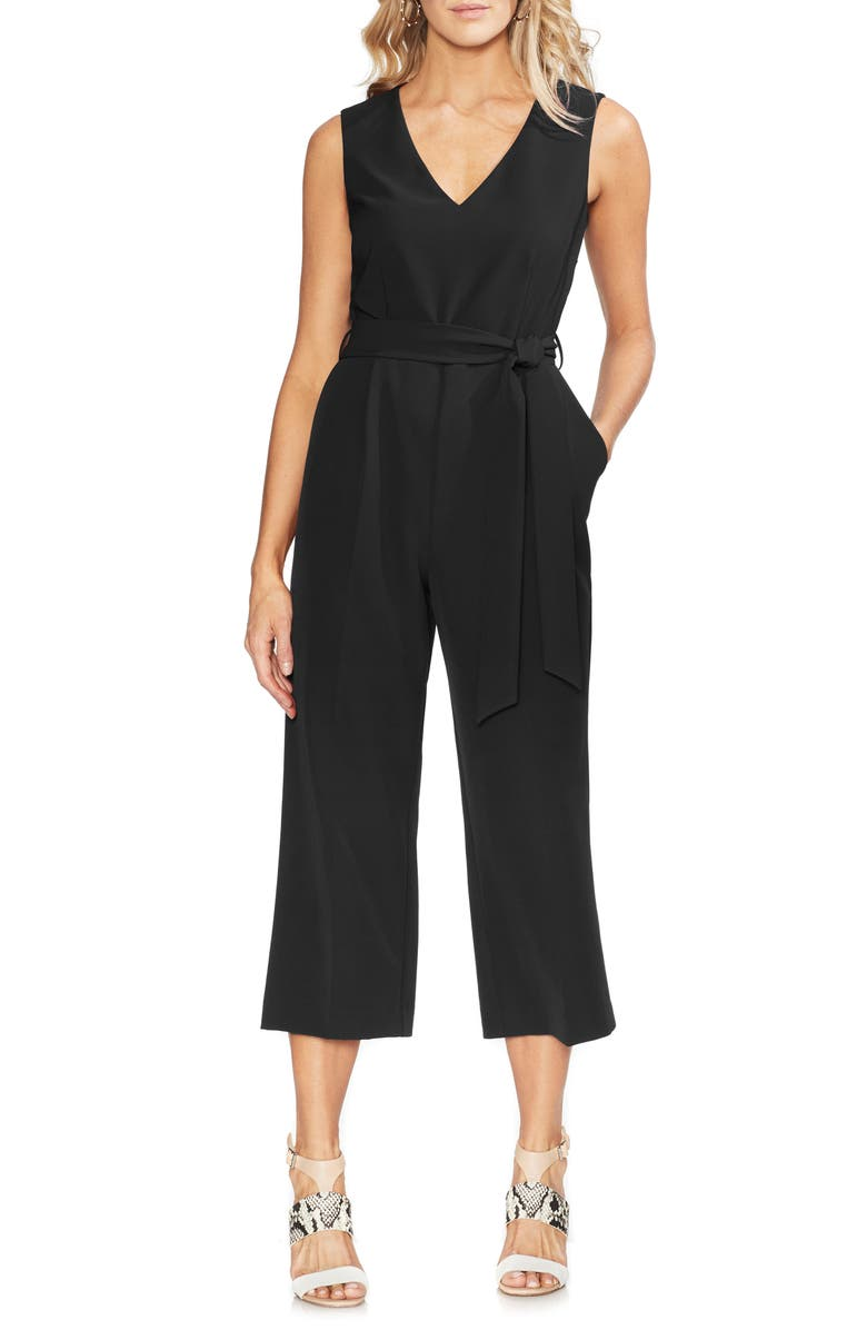 VINCE CAMUTO Belted Crop Jumpsuit, Main, color, RICH BLACK