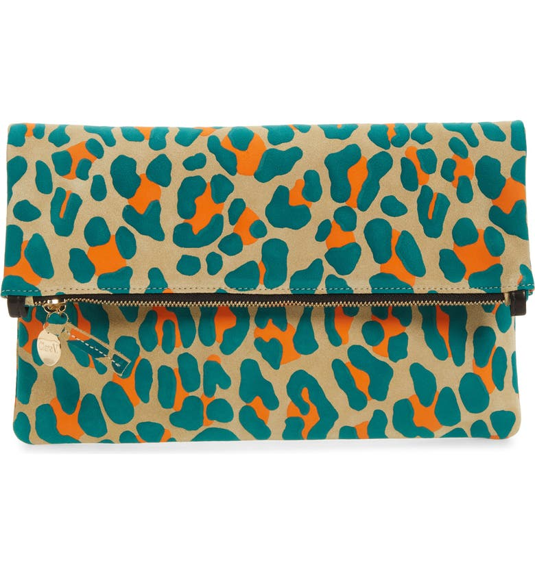 CLARE V. Leopard Print Suede Foldover Clutch, Main, color, 250