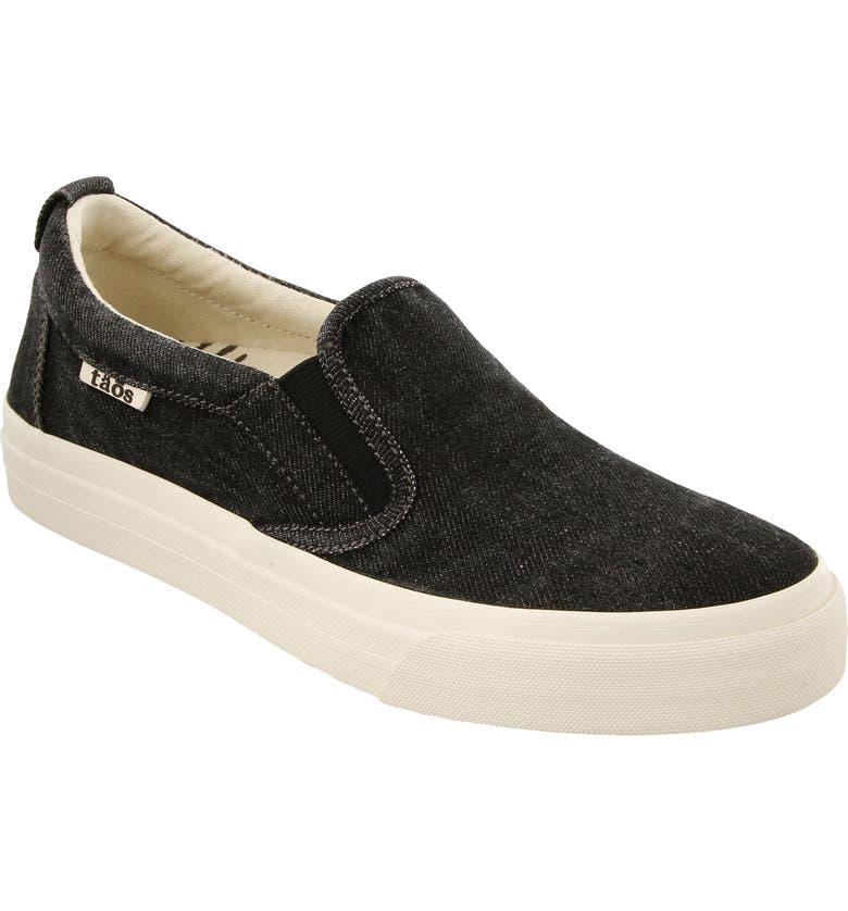 TAOS Rubber Soul Slip-On Sneaker, Main, color, BLACK DENIM FABRIC