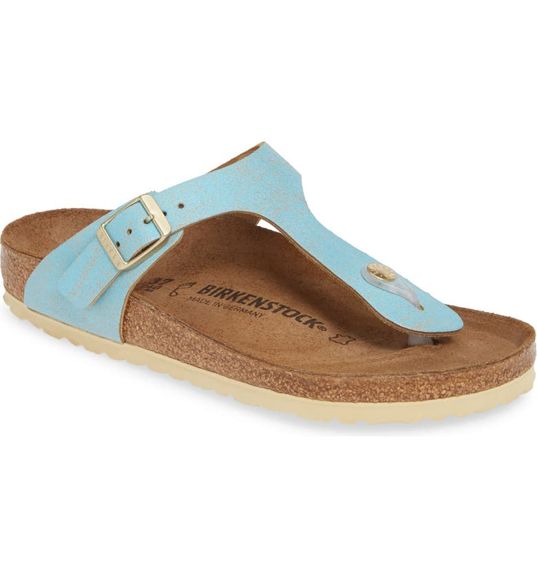 BIRKENSTOCK Gizeh Flip Flop, Main, color, WASHED METALLIC AQUA LEATHER